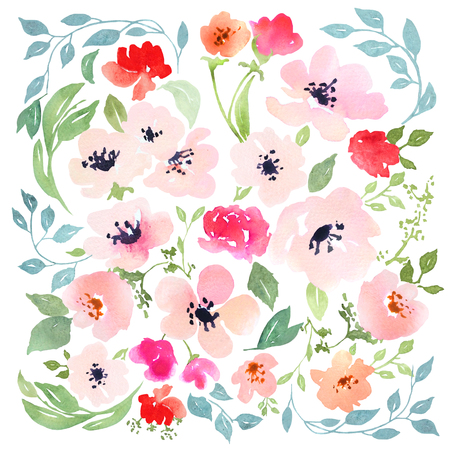 isolation: Watercolor floral composition. Clipping path included. Fast isolation. Hi-res file. Hand painted. Raster illustration.