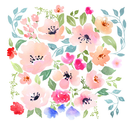 wedding  art: Watercolor floral composition. Fast isolation. Hi-res file. Hand painted. Raster illustration.