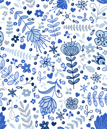 the petal: Seamless blue plants pattern, abstract nature background.Can be used for wallpaper, pattern fills, surface textures.