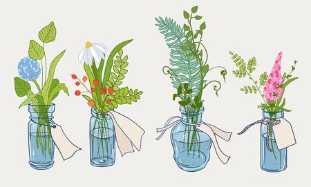 bouquet de fleurs: Concevoir avec des herbes et des plantes dessinés à la main dans une petite bouteille. ensemble botanique décoratif de quatre. Illustration