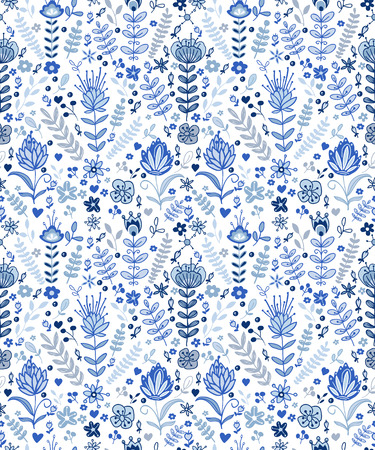 buds: Seamless blue plants pattern, abstract nature background.Can be used for wallpaper, pattern fills, web page background,surface textures.