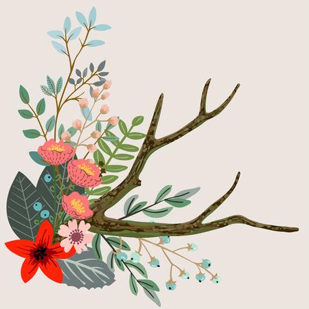 oiseau dessin: Concevoir avec des herbes et des fleurs dessinées à la main. fond botanique décoratif Illustration