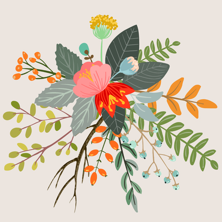 Design with hand drawn herbs and flowers. Decorative botanical background