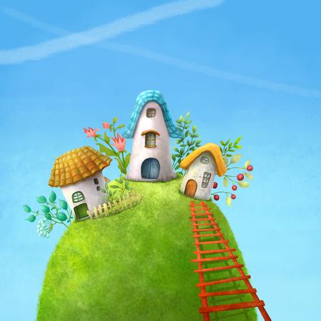 fairy: Surreal cartoon wonderland country village, romantic fairy tale landscape. Illustration.