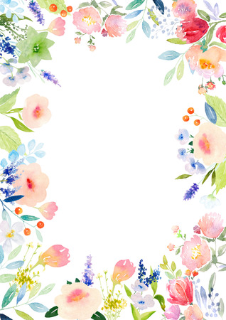Card template with watercolor roses. Blank space for your text. Clipping path included for fast isolation. Illustration for greeting cards, invitations, and other printing projects.