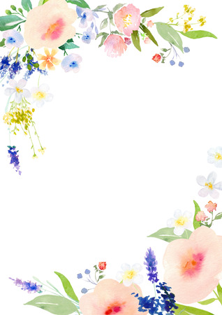 other space: Card template with watercolor roses. Blank space for your text. Clipping path included for fast isolation. Illustration for greeting cards, invitations, and other printing projects.