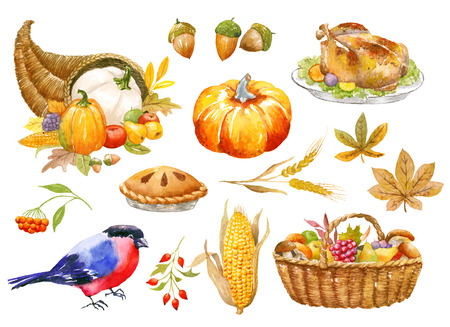 Autumn clip art hand painted watercolor, Thanksgiving objects, isolated, clipping path included, quick isolation. Pumpkin, apple, pear, mushroom, pomegranate.