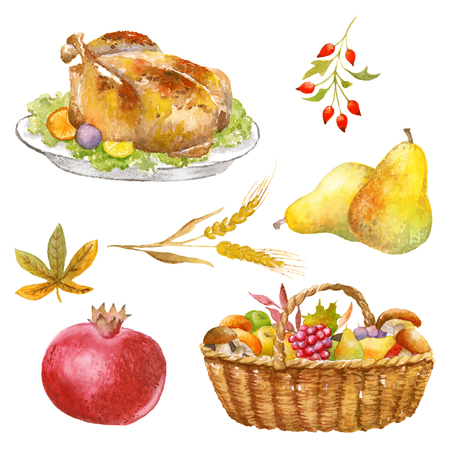 fruit basket: Autumn clip art hand watercolor painted, Thanksgiving objects, isolated, clipping path included, quick isolation. Pumpkin, apple, pear, mushroom, pomegranate.