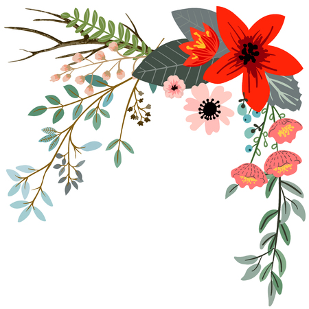 Design with hand drawn herbs and flowers Illustration