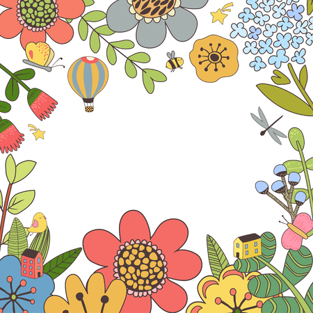 Design with hand drawn herbs and flowers Ilustracja