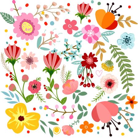 추상 꽃과 허브 배경 벡터 디자인 손으로 그린 허브와 꽃. 장식 식물 배경