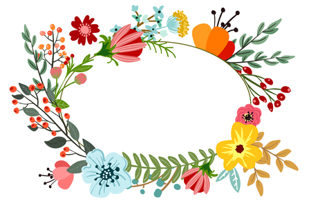 Abstract flowers and herbs background with space for text. Vector design with hand drawn herbs and flowers. Decorative botanical background