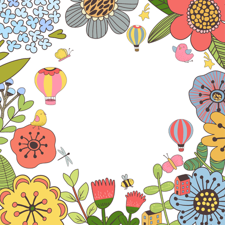 Vector design with hand drawn herbs and flowers. Decorative botanical background Ilustracja