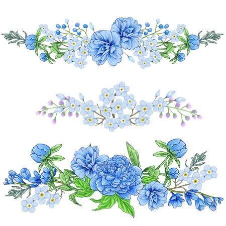 Vector floral botanical arrangement set. Çizim