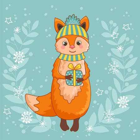 Christmas card with a cute fox. Vector illustration of Christmas theme. Palce your text.