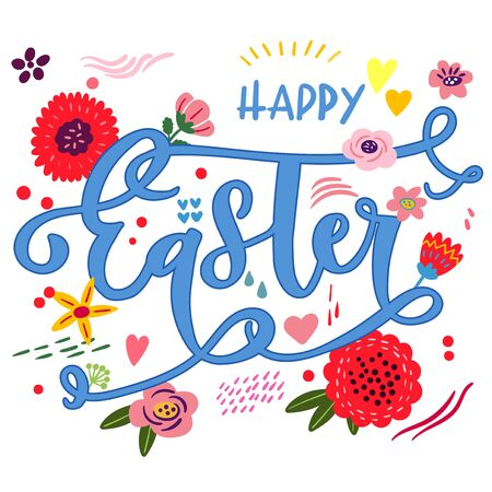 Easter banner with flower composition.