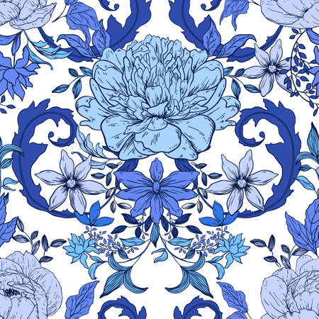 Seamless vintage floral pattern with peony; retro background