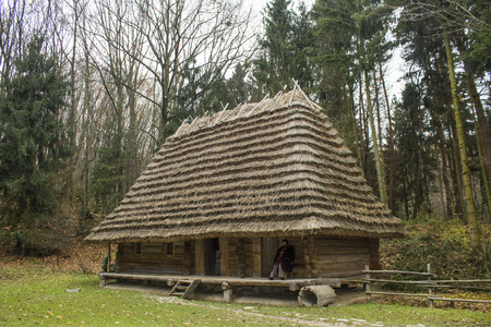 take a history: Small one-story house in the woods in the park Shevchenko, Ukraine, Lviv