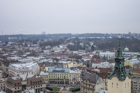 View from the roof of the central area of the city Lviv, Ukraine