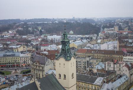 polska monument: View of the city from above, Lviv, Ukraine Stock Photo