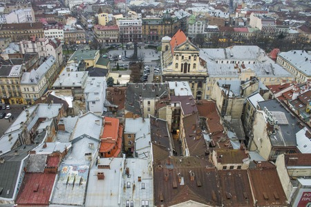 old town guildhall: The city of Lviv, top view, Ukraine