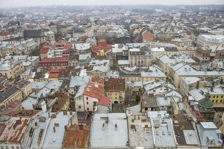 lviv: Panorama and roofs of Lviv in Ukraine
