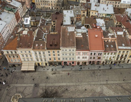 Homes Market Square in Lviv, view from the roof, Ukraine