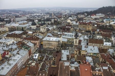 Panorama on the center of the city of Lviv and the roof home