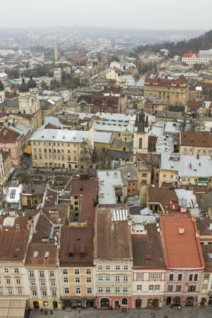 Top view of a house in Lviv, Ukraine