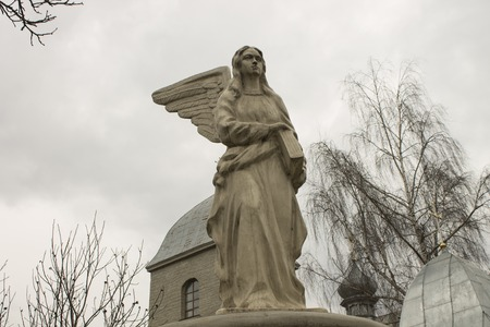 godly: Angel statue as a symbol of knowledge at the church, Ternopil, Ukraine