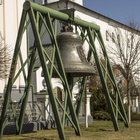 Large bell near the historic building Pochaiv, Ukraine