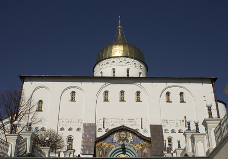 middle easter: Christian Church in Ukraine and golden domes under the sky