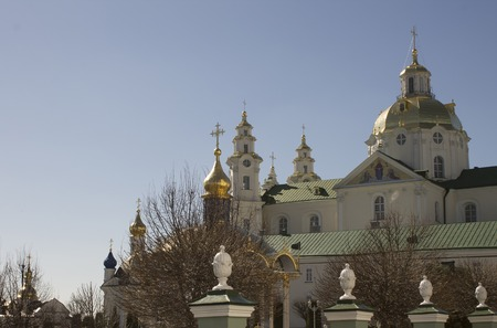 orison: Pochayiv Lavra, facade of the Orthodox Church, a sacred place Stock Photo