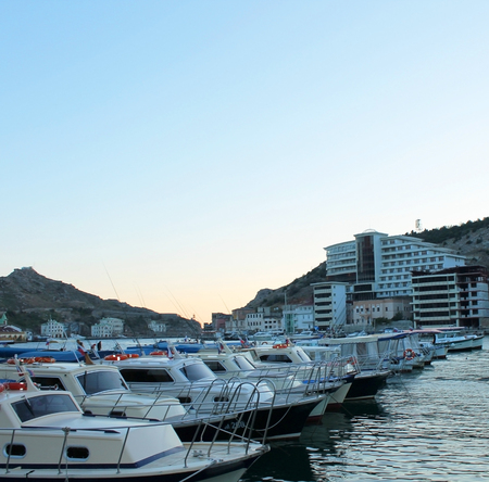 private club: Yachts and marina at sunset on a summer day, Balaklava, Crimea