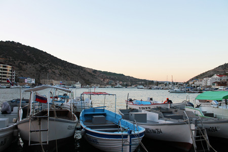 dinghies: Marina with boats in the Black Sea at sunset, Balaklava, Crimea