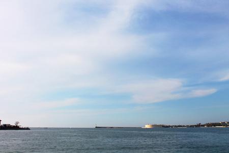 inlet bay: Promenade and center city of Sevastopol, Black Sea, port