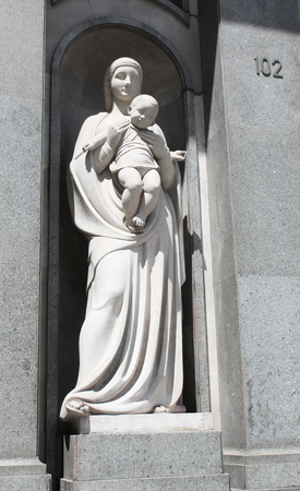 sanctity: Statue of Virgin Mary and Jesus in Barcelona, Catalonia, Spain
