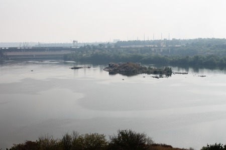 hydropower: Beautiful views of the River Dnieper Khortytsya, Zaporozhye Stock Photo