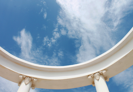 greek columns: Greek columns tend to sky with white clouds