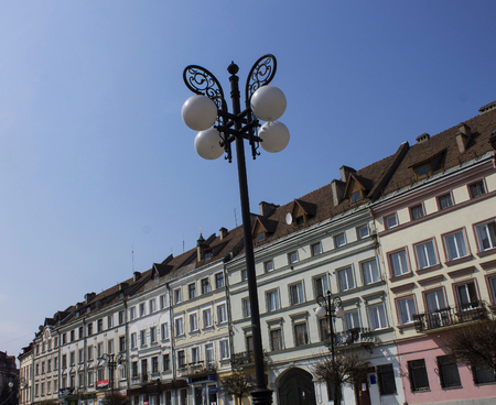 central european: Houses in the central European street lanterns, Ivan-Frankivsk, Ukraine