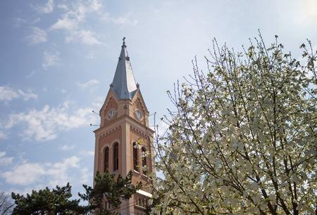 donjon: Main building of the Catholic Church, Ukraine, Carpathian Mountains Stock Photo