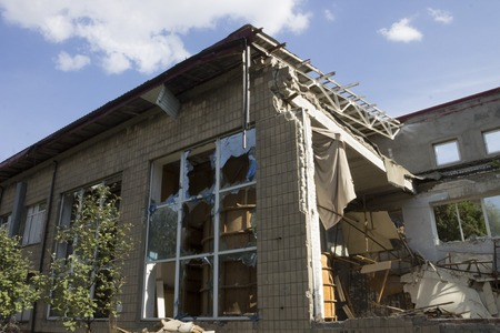 donbass: Remains of a building after an explosion in the Donbass, Ukraine Stock Photo
