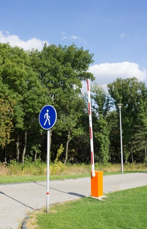 traffic rules: Traffic sign pedestrians and exit from the parking lot