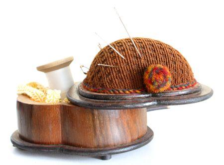 haberdashery: Oldfashion haberdashery wooden box. Stock Photo