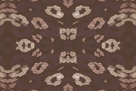 Seamless Leopard Repeat. Brown Ocelot Fur Pattern. Watercolor Spotted African Wallpaper. Abstract Wild Design. Brown Leopard Artwork. Spotted Safari Wallpaper. Seamless Leopard Imitation.