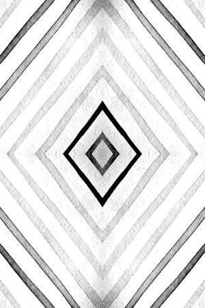 Seamless Geometric Ethnic Cover. Abstract Zigzags Ornament. Monochrome Gray Aztec Rhombus. Geometric Stripes Pattern. Drawn by Water Texture. Watercolor Textile Design. Geometric Ethnic Pattern.