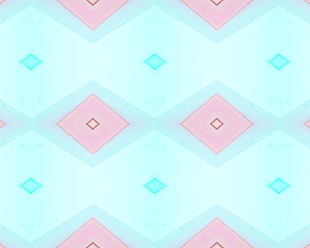 Seamless Rhombus Pattern. Watercolor Aztec Ornament. Fashion Bohemian Chevron. Pink African Tribal Design. Pastel Rhombus Pattern. Drawn by Water Squares. Diamond Background. Rhombus Pattern.
