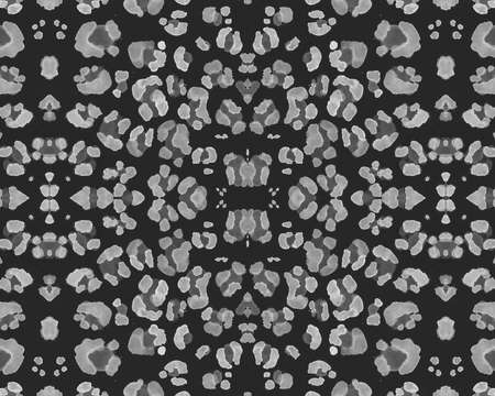Seamless Leopard Repeat. Abstract Panther Fur. Black Watercolour Jungle Wallpaper. Fabric Design with Wild Spots. Leopard Texture. Gray Fashion Cheetah Skin. Seamless Leopard Pattern.