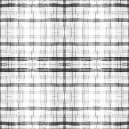 Black and Gray Scottish Check. Watercolor Picnic Repeat. Color Traditional Squares for Twill Print. Seamless Scottish Check. English Gingham Ornament. Plaid Design. Rustic Scottish Check.