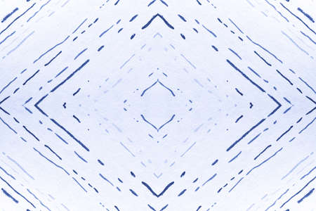 Seamless Geometric Zigzags. Drawn by Hand Stripes Ornament. Indigo Abstract Rhombuses. Geometric Zig Zags Pattern. Tribal Border. Watercolour Chevron Print. Geometric Ethnic Pattern.